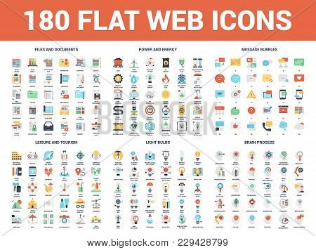 Vector Set Of 180 Flat Web Icons On Following Themes - Files And Documents, Power And Energy, Messag