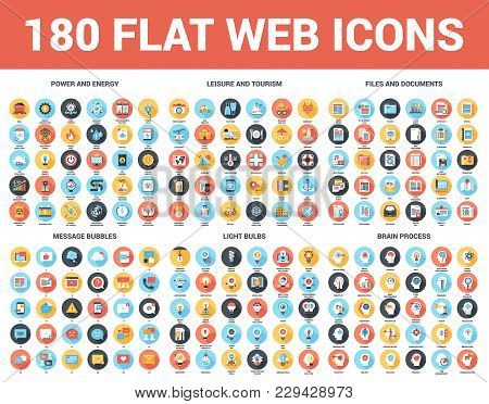 Vector Set Of 180 Flat Web Icons With Long Shadow On Following Themes - Files And Documents, Power A