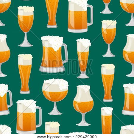 Seamless Pattern With Different Beer Mugs On Green Background. Alcohol Drink Backdrop, Beer Glass Wi
