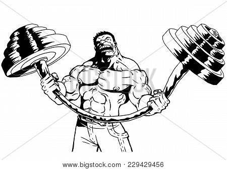 Strong Bodybuilder Vector Photo Free Trial