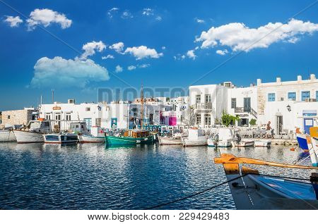 Naousa Town, Paros Island, Greece, July 2017: Naoussa Village In The Island Of Paros, Cyclades Is On