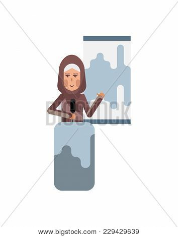 Arabic Woman On Tribune Doing Business Presentation With Financial Diagram. Corporate Business Peopl