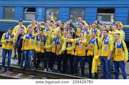 Kharkiv, Ukraine - September 2, 2017: Ukrainian National Football Team Supporters Pose For A Group P