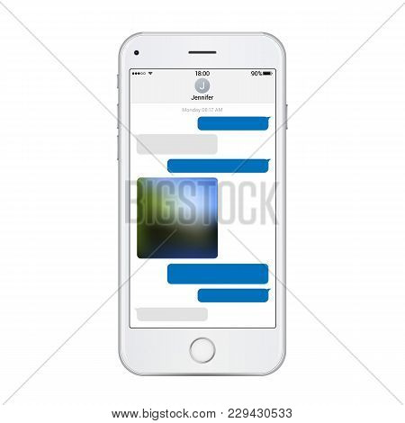 Realistic White Phone Template With Chat Messenger On Screen. Vector Detailed Illustration Isolated
