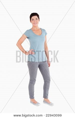 Good Looking Woman Posing While Standing Up