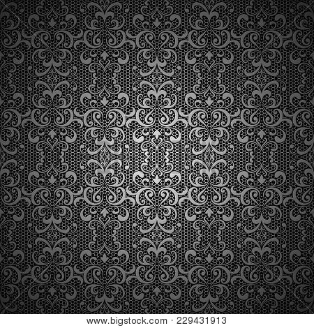 Vintage Black Vector Background With Swirly Pattern, Silver Lace Or Brocade Embroidery Texture