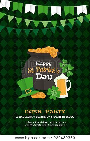 Festive Happy Saint Patrick's Day Greeting Card Poster Invitation