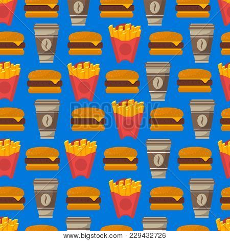 Street Fast Food Seamless Pattern With Coffee Cup, French Fries And Hamburger Isolated On Blue Backg