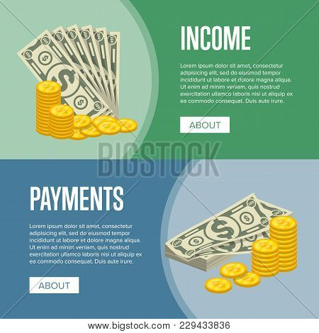 Money Income And Easy Payments Flyers With Paper Banknotes And Golden Coins In Cartoon Style. Financ