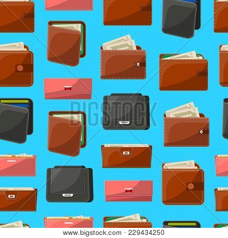 Seamless Pattern With Various Leather Purses Isolated On Blue Background. Wallets And Clutches For M