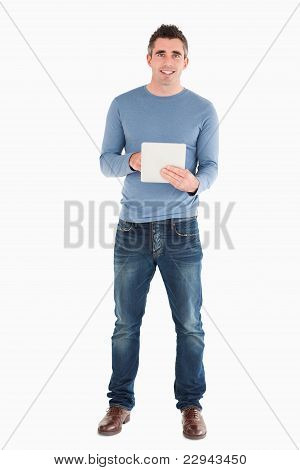 Man Holding A Tablet Computer