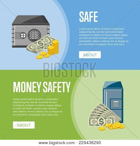 Safe Box With Paper Banknotes And Golden Coins Near. Money Storage, Banking And Financial Income, Ca