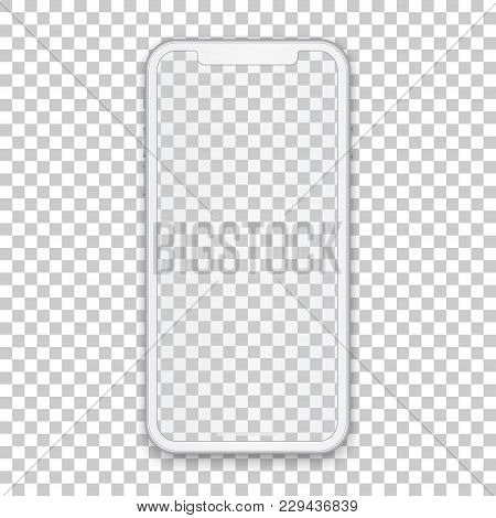 White Mobile Concept With Empty Screen For Any Application Design And Backdrop, Phone Template Isola