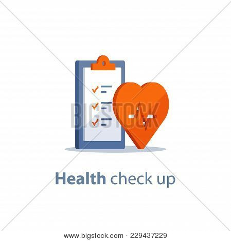Health Check Up Checklist, Cardiovascular Disease Prevention Test, Heart Diagnostic, Electrocardiogr