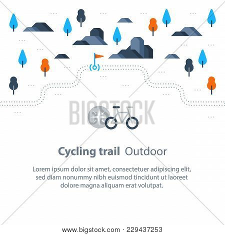 Outdoor Biking, Trail Map With Flag, Cycling Route, Countryside Landscape, Sport Activity, Vector Bi