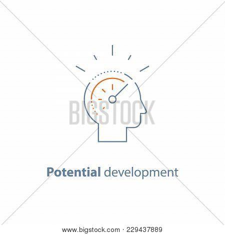 Potential Development Concept, Head Line Icon, Personal Growth, Vector Thin Stroke