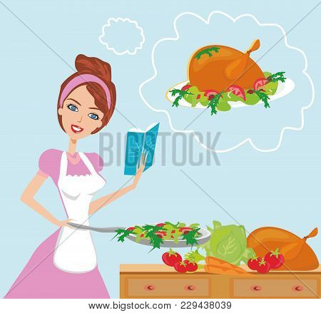 Beautiful Lady With Cookbook In The Kitchen , Vector Illustration