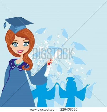 Young Happy Graduation Girl Card , Vector Illustration