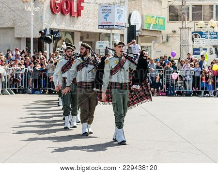 Nahariyya, Israel, March 02, 2018 : Participants Of The Annual Carnival Of Adloyada - мember Of The