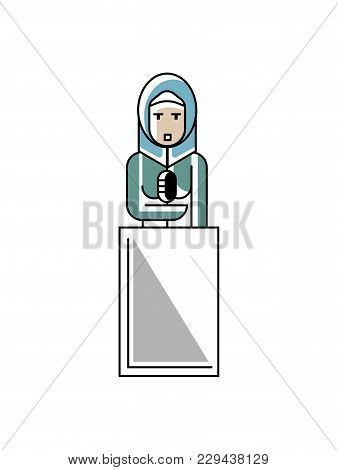 Arabic Businesswoman In Hijab Speech On Tribune. Corporate Business People Isolated Illustration In