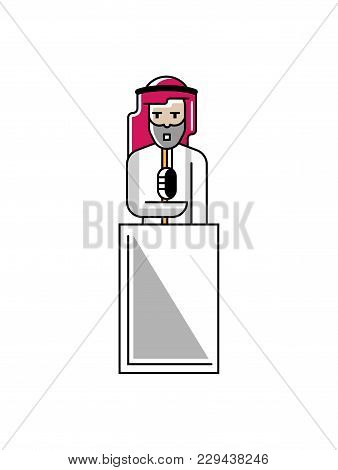 Arabic Businessman Speech On Tribune. Corporate Business People Isolated Illustration In Linear Styl