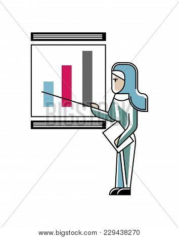 Arabic Woman Doing Business Presentation With Financial Diagram On Whiteboard. Corporate Business Pe