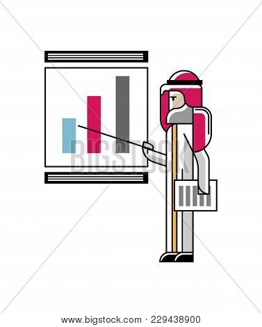 Arabic Speaker Doing Business Presentation With Financial Diagram On Whiteboard. Corporate Business