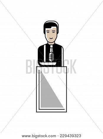 Asian Businessman Speech On Conference Tribune. Corporate Business People Isolated Illustration In L