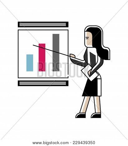 Asian Woman Doing Business Presentation With Financial Diagram On Whiteboard. Corporate Business Peo