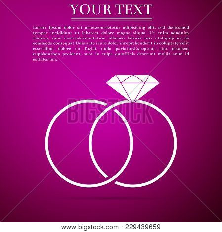 Wedding Rings Icon Isolated On Purple Background. Bride And Groom Jewelery Sign. Marriage Icon. Diam