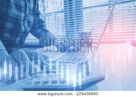 Business Man Calculate About Cost And Doing Finance At Office, Finance Managers Task,concept Busines