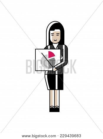 Asian Businesswoman In Business Suit Showing Financial Diagram. Corporate Business People Isolated I