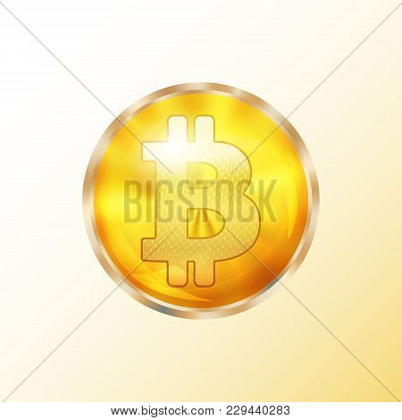 Golden Bitcoin Coin Icon. Crypto Currency Symbol Isolated. Physical Bit Coin Sign. Vector Illustrati