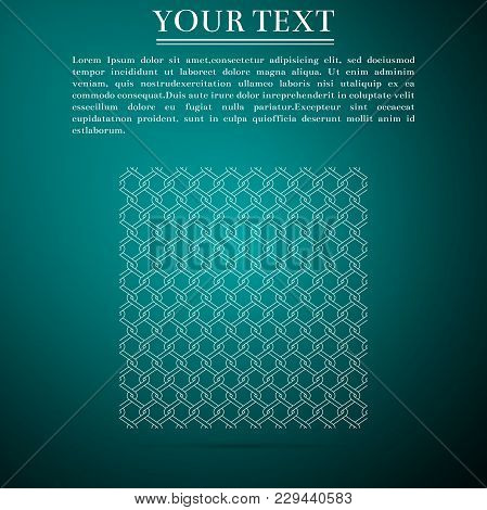Chain Fence Icon Isolated On Green Background. Metallic Wire Mesh Pattern. Flat Design. Vector Illus