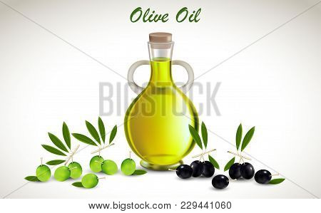 Vector Illustration With Glass Jar Full Of Olive Oil And Branch On White Background. Natural Healthy