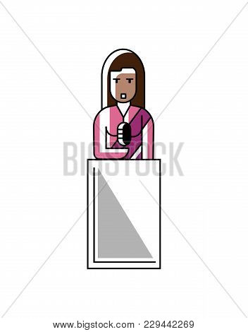 Indian Businesswoman In Saree Speech On Tribune. Corporate Business People Isolated Illustration In