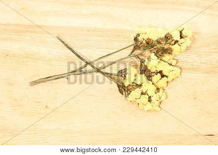 Close Up Of Single Yellow Statice Flower Background Use For Decoration On Brown Wooden