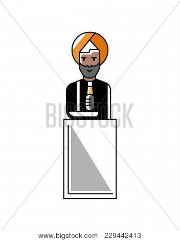 Indian Businessman Speech On Tribune. Corporate Business People Isolated Illustration In Linear Styl