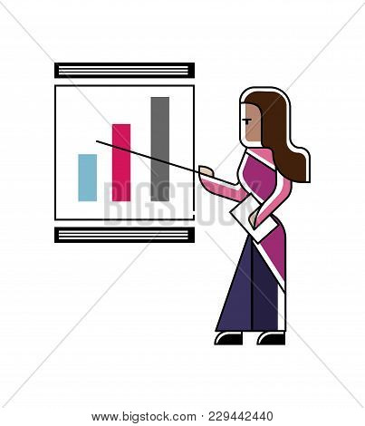 Indian Woman Doing Business Presentation With Financial Diagram On Whiteboard. Corporate Business Pe