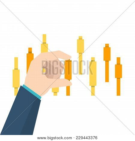3190074  Businessman's Hand Touch Upon  Candlestick Chart. Vector Illustration.