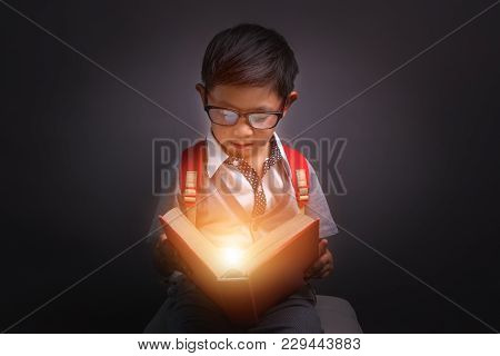 Back To Schoo, Child Opened A Magic Book, Image Dark Tone