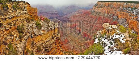 A Winter Snow Storm Approaching The Grand Canyon From Its North Side. The Photo Was Taken On The Sou