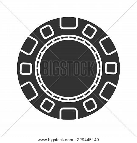 Casino Chip Glyph Icon. Gambling Token. Casino. Silhouette Symbol. Negative Space. Vector Isolated I