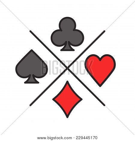 Suits Of Playing Cards Color Icon. Spade, Clubs, Heart, Diamond. Casino. Isolated Vector Illustratio