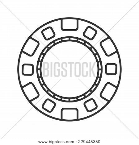 Casino Chip Linear Icon. Gambling Token With Dollar Sign. Thin Line Illustration. Casino Contour Sym