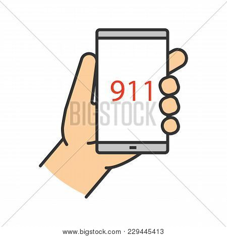 Emergency Calling Color Icon. Hand Holding Smartphone With 911 Number. Isolated Vector Illustration