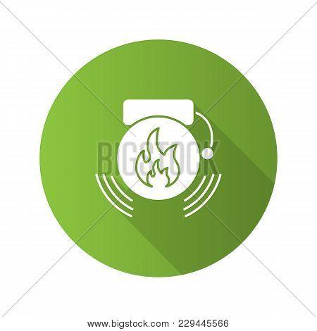 Fire Alarm Flat Design Long Shadow Glyph Icon. Alert. Vector Silhouette Illustration