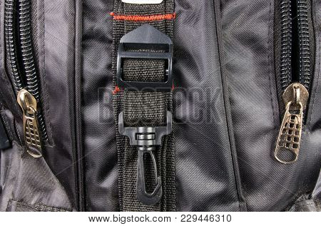 Closeup Of Buckles, Clasps, Zippers, Pockets, Fasteners, Fittings And Seams In The Black Backpack