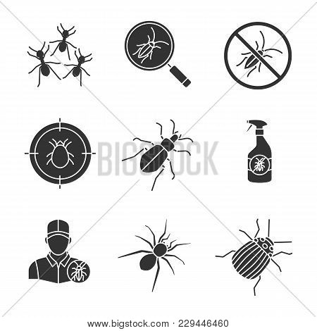 Pest Control Glyph Icons Set. Cockroach Searching, Ants, Roaches Repellent, Mite Target, Ground Beet
