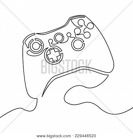 One Continuous Line Joystick Outline Illustration Of One Joystick Vector
